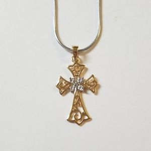 Jewelry - Gold Sterling Silver White Sapphire Cross Necklace